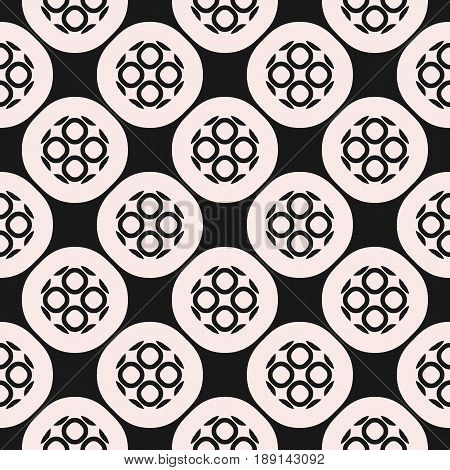 Monochrome ornamental seamless pattern. Vector abstract geometric texture, rounded lattice outline circular shapes background, illustration of mesh. Repeat mosaic background. Design for decor background, prints seamless pattern, furniture.