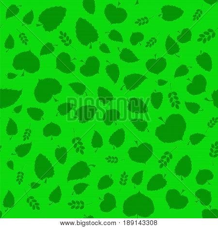 Vector Summer Green Leaves Isolated on Green Background. Seamless Different Leaves Pattern