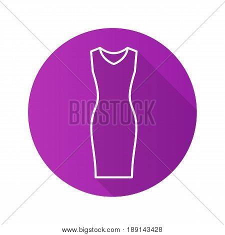 Evening dress flat linear long shadow icon. Women's sleeveless gown. Vector line symbol