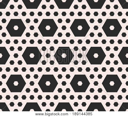 Vector monochrome texture, geometric seamless pattern, different sized hexagons perforated shapes honeycombs hexagonal grid background. Modern abstract background. Design element for prints seamless pattern, furniture background texture.