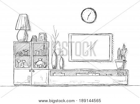 Linear sketch of the interior. Bookcase dresser with TV and shelves. Hand drawn vector illustration of a sketch style.
