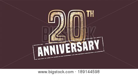 20 years anniversary vector icon, logo. Graphic design element with golden stamp for 20th anniversary decoration