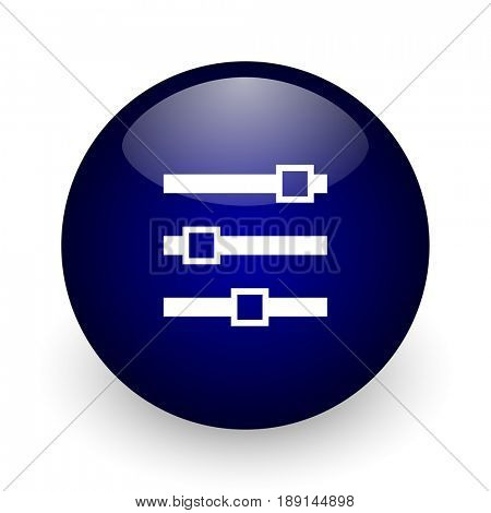 Slider blue glossy ball web icon on white background. Round 3d render button.