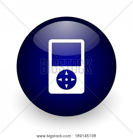 Multimedia player blue glossy ball web icon on white background. Round 3d render button.