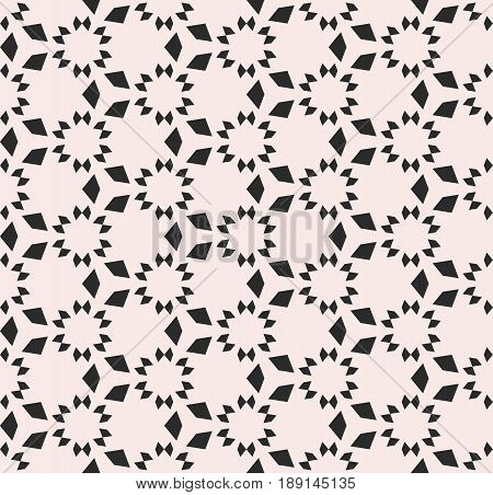 Vector monochrome seamless texture, floral tile pattern. Abstract geometric background with simple geometrical shapes stars triangles. Repeat tiles seamless pattern. Design element for decoration, fabric ,furniture.