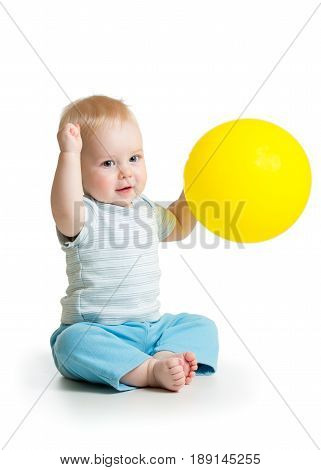 Cute baby boy with yellow balloon isolated on white background