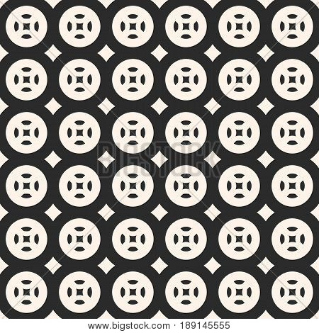 Vector monochrome pattern, abstract geometric seamless texture, circles squares rhombuses simple rounded shapes repeat tiles abstract background. Stylish background for prints, covers, cloth seamless pattern, furniture, fabric.