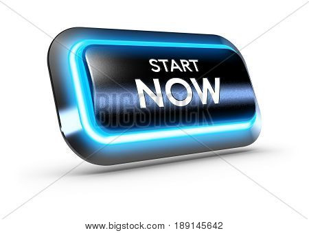 3D illustration of a rectangular push button with blue light over white background with the text start now.