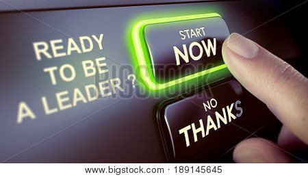 Finger pressing a push button to start a leadership online course. Concept of on-line leader classes or training. Composite image between a hand photography and a 3D background.
