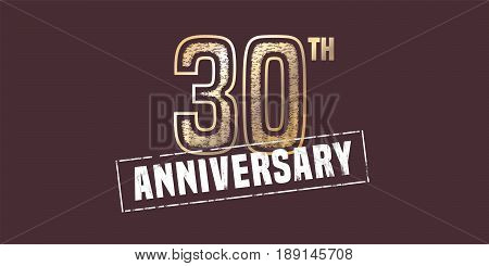 30 years anniversary vector icon, logo. Graphic design element with golden stamp for 30th anniversary decoration