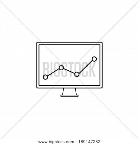 Market monitoring line icon, computer analysis, vector graphics, a linear pattern on a white background, eps 10.