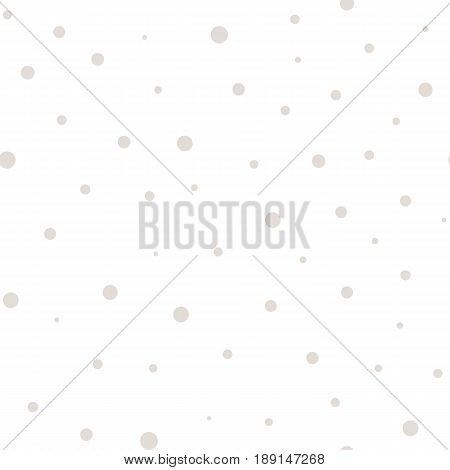 Vector seamless polka dot pattern, in pastel colors white beige abstract background. Monochrome dotted seamless texture. Abstract subtle background with randomly scattered circles. Design for home decor seamless pattern, textile background, fabric, cloth.