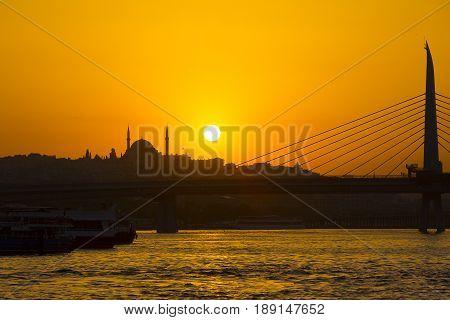 Istanbul in summer over golden horn Turkey