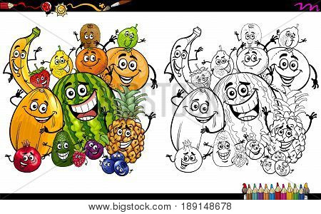 Cartoon Illustration of Funny Fruit Characters Group Coloring Page Activity