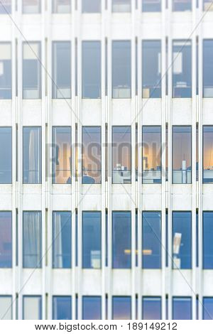Windows on a modern office building in a sunny day with Tilt-Shift effect