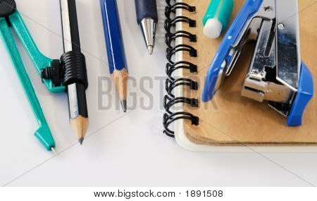 accessory : Notepad and ball-point and pen and Blue stapler poster