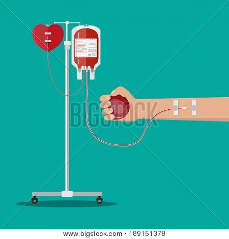 Blood bag and heart at holder, hand of donor with ball. Blood donation day concept. Human donates blood. Vector illustration in flat style.