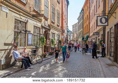 STOCKHOLM, SWEDEN - MAY 19, 2017: Medieval Old Town in Stockholm. The historic Old Town is a major tourist attraction.
