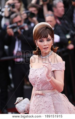 Ly Nha Ky attends the 70th Anniversary of the 70th annual Cannes Film Festival at Palais des Festivals on May 23, 2017 in Cannes, France.