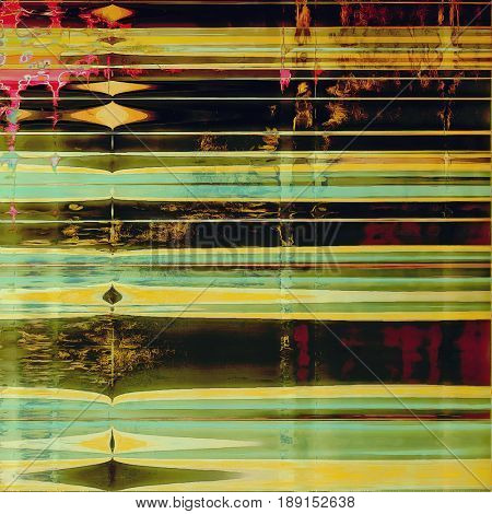 Creative elegant design used as retro background for your art project. With grunge texture and different color patterns: blue; yellow (beige); brown; green; black; pink