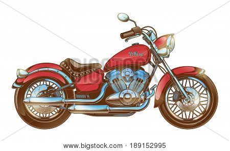 Vector illustration of hand-drawn vintage motorcycle. Classic red chopper. Print for T-shirts, template, design element