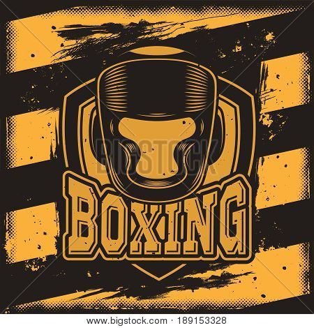 Vector conceptual motivational poster for a boxing club, boxing hall with a silhouette of a boxing protective headgear. Excellent advertising poster for the championship boxing
