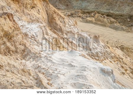 industrial sand quarry, sand pit, construction industry, sand background, natural yellow abstract