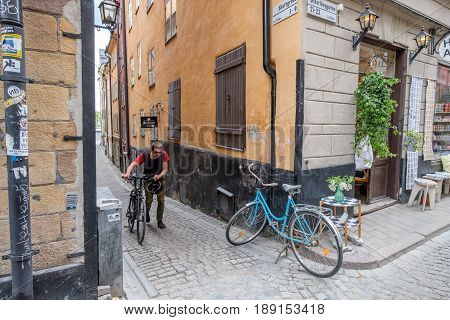 STOCKHOLM, SWEDEN - MAY 25, 2017: Medieval Old Town in Stockholm. The historic Old Town is a major tourist attraction.