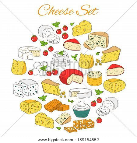Vector set of various types of cheese, Mozzarella, Swiss Cheese, Gouda, Roquefort, Parmesan, Gorgonzola, Mascarpone, Brie, Camembert , hand drawn color sketch illustration isolated on white