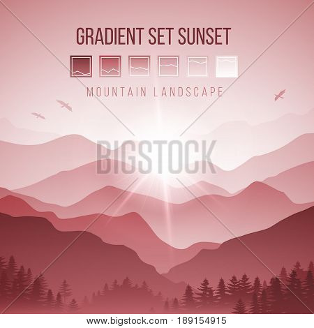 Abstract Landscape with Silhouettes of Misty Mountains and Forest at Red Sunset with Birds in the Sky