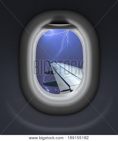 airplane window view in storm with thunderbolt 3d illustration