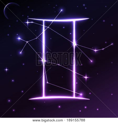 Space symbol of Gemini of zodiac and horoscope concept, vector art and illustration. Star constellation.