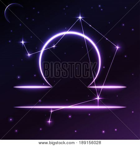 Space symbol of Libra of zodiac and horoscope concept, vector art and illustration. Star constellation.