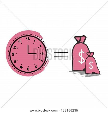 Time is money vector. White background. Clock vector