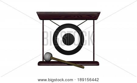 3D illustration of gong with hammer on white background