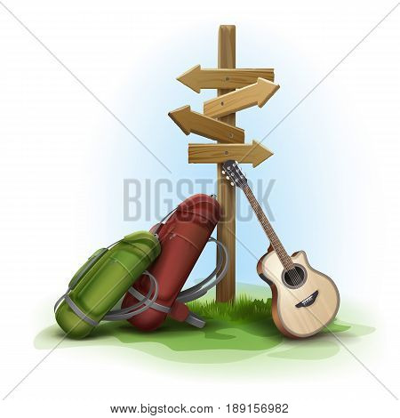 Vector wooden directional signpost with two big backpacks and guitar on background