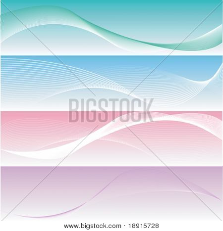four different elegant and smooth banners or web site headers, also suitable as business cards
