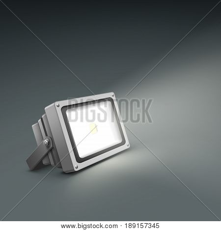 Vector floor illuminated spotlight close up side view isolated on dark grey background