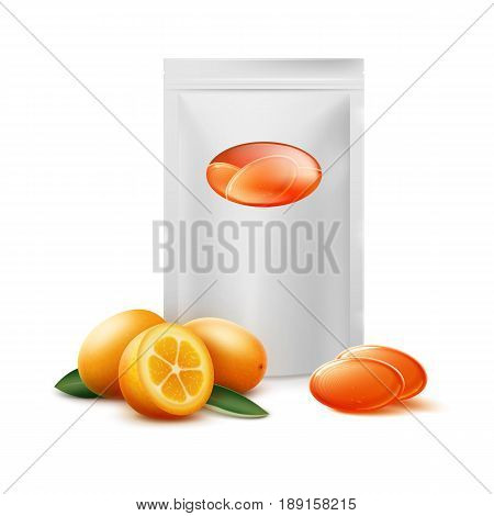 Vector blank pack of orange citrus candies with kumquat fruit close up front view isolated on white background