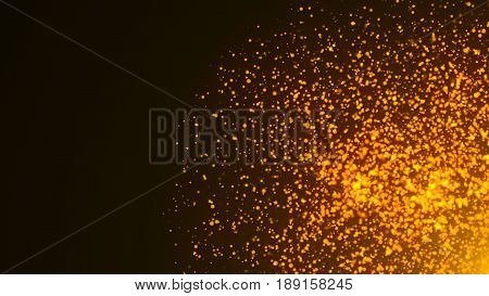 An Explosion Of Orange And Gold Embers Or Particles With Depth Of Field