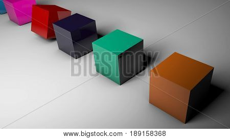 The Rotation Of Cubes Of Different Colors On The Floor