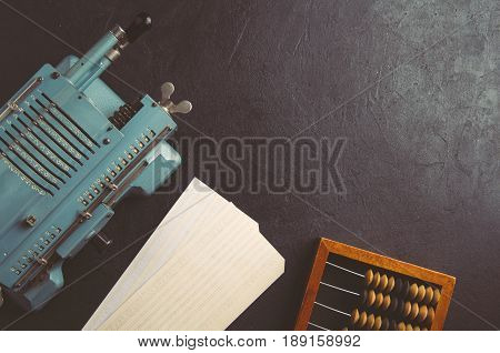 The Old Computing Machine And Wooden Abacus. The Concept Of Accounting