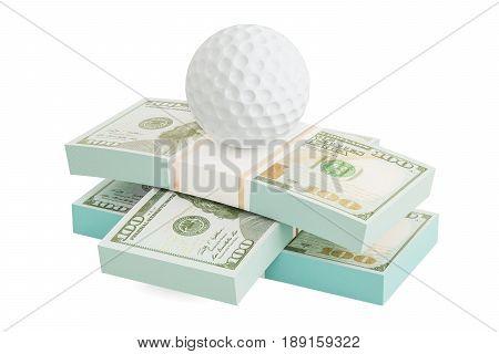 Money and golf ball. Online sport bets. 3D rendering