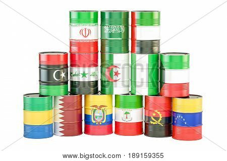 OPEC concept oil barrels with flags. 3D rendering isolated on white background