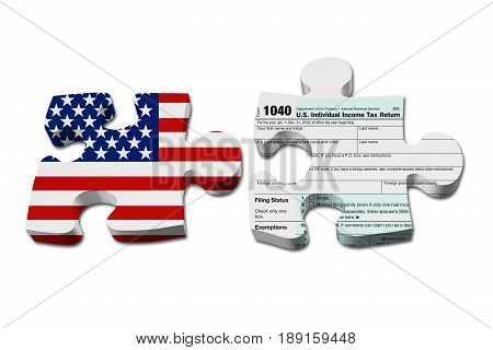 Understanding how to do your taxes Two puzzle pieces with the flag of the USA and a US Federal tax 1040 income tax form isolated over white 3D Illustration
