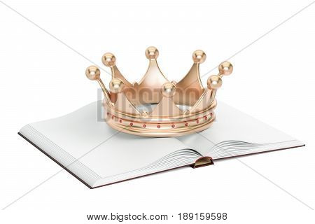 Opened blank book with golden crown 3D rendering isolated on white background