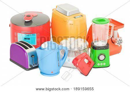 Set of colored kitchen home appliances. Toaster kettle mixer blender