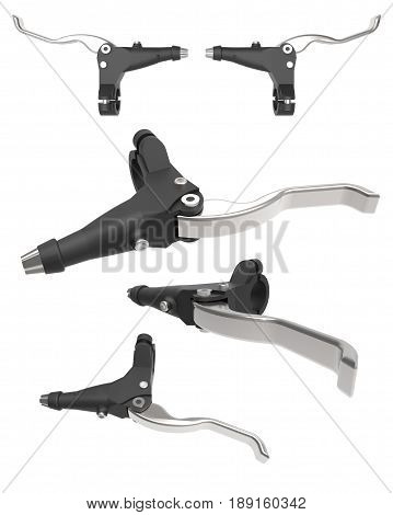 Bicycle brake. Hand brake lever. Detail for controlling the braking of a bicycle. Isolated set of images on a white background. 3d illustration