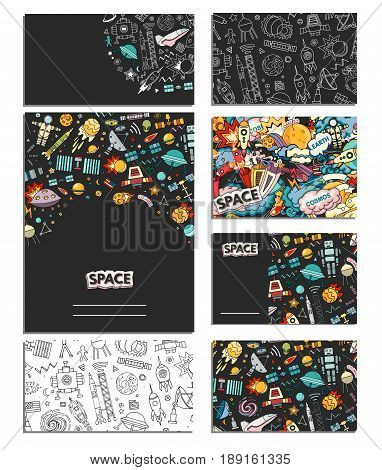 Cards vector template illustration of space. Moon, planet, rocket, earth, cosmonaut, comet, universe. Classification milky way Cards of Cosmos