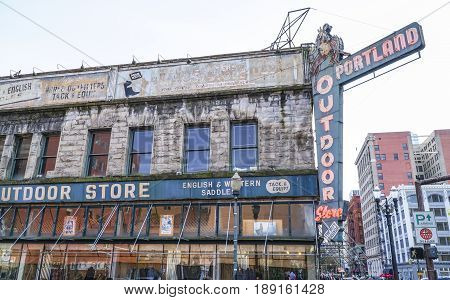 Beautiful old building of Portland Outdoor store - PORTLAND - OREGON